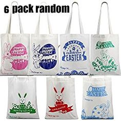 Easter gift bag easter presents for kids from easter bunny basket 6 self customize value pack easter bags for easter egg hunt easter basket bunny tote negle Images