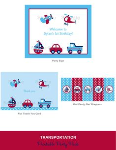 Boys Transportation Car Truck Boat Airplane Printable Birthday Party Pack Print Your Own. $20.00, via Etsy.