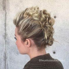 Braided mohawk hairstyles, mohawk braid, short hair updo, messy hair, f Braided Hairstyles Updo, Faux Hawk Hairstyles, 2015 Hairstyles, Braided Updo, Trendy Hairstyles, Wedding Hairstyles, Haircuts, Mohawk Updo, Hair Updo