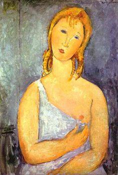 Amedeo Modigliani >> Girl in a White Chemise