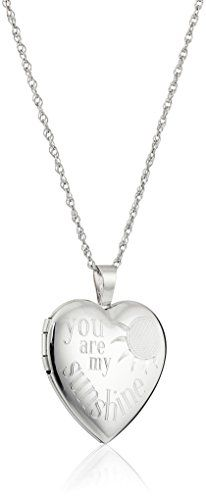 "Sterling Silver Heart ""You Are My Sunshine"" Locket Necklace, 18"" 