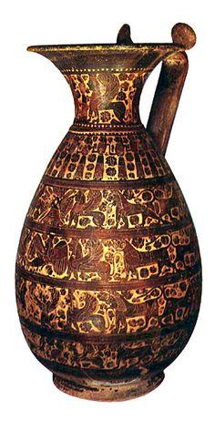 ***Olpe corintio (S.VII a.C.), Madrid, Museo Arqueológico Nacional. Estilo orientalizante.