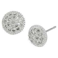 Silver Plated Cubic Zirconia Round Button Earring with Pave $19.99