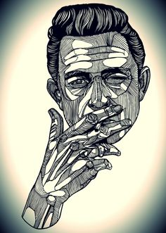 Johnny Cash - ink drawing. #music #johnnycash http://www.pinterest.com/TheHitman14/musician-drawn-%2B/