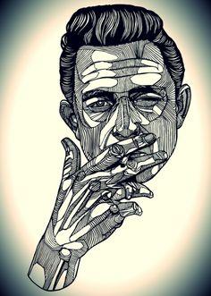 Johnny Cash - ink drawing. #music #johnnycash  http://www.pinterest.com/TheHitman14/musician-drawn-%2B/