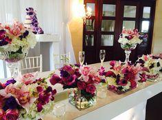 White,roses & purple wedding