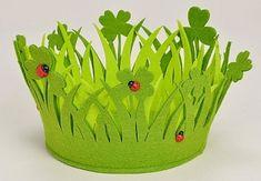 Round Lucky Clover Felt Basket with Ladybirds 21cm