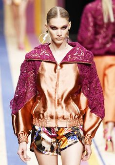 EclecticColor & Lace Mix Bomber Jacket.  Frankie MorelloSpring Summer 2013 #Trendy  #Fashion #Trends
