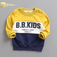 The new children roundneck Cotton Terry spell color all-match hoodies. Sports and leisure style special offer Trendy Boy Outfits, Baby Boy Outfits, Boys T Shirts, Cool Shirts, Matching Hoodies, Kids Vest, Boys And Girls Clothes, Kids Suits, Kids Fashion Boy