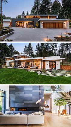 Wildwood Residence by Giulietti Schouten Architects in Portland, Oregon - Architektur heute morgen gestern - Architecture Modern House Plans, Modern House Design, Villa Design, Design Art, Dream House Exterior, Modern Architecture House, Dream Home Design, Exterior Design, Modern Exterior