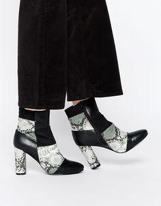 De lækreste Truffle Collection Alice Patchwork Heeled Ankle Boots - Black multi Truffle Collection Sko accessories til Damer til enhver anledning