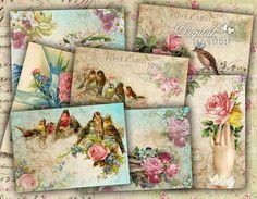 Greeting Cards  digital collage sheet  set of 8  by bydigitalpaper