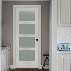 JELD-WEN MODA Primed Solid Core Frosted Glass MDF Slab Door (Common: x Actual: x at Lowe's. Simple, contemporary lines characterize JELD-WEN MODA interior doors The translucent glass panel door allows you to open up rooms and hallways and lets Jeld Wen Interior Doors, Interior Glass Doors, Interior Balcony, Exterior Doors, Home Depot Interior Doors, Contemporary Interior Doors, Interior Columns, Modern Interior, Primed Doors