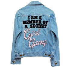 GIRL GANG LIGHT WASH DENIM JACKET featuring polyvore women's fashion clothing outerwear jackets tops coats & jackets jean jacket patch jean jacket patch jacket blue jackets blue denim jacket