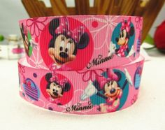 "1"" 25mm pink Minnie Mouse printed grosgrain ribbon 20 yards/lot-in Ribbons from Apparel & Accessories on Aliexpress.com $9"