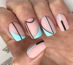 Discover new and inspirational nail art for your short nail designs. Simple Nail Art Designs, Short Nail Designs, Easy Nail Art, Simple Art, Striped Nail Designs, Aycrlic Nails, Cute Nails, Hair And Nails, Nail Nail