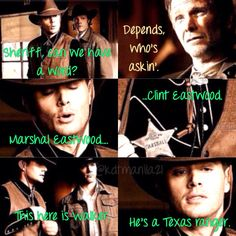 """Marshal Eastwood. Clint Eastwood. And this is Walker. He's a Texas ranger."" I love everything about this."