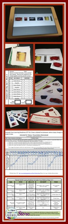 ABA Discrete Trial Teaching kit for basic learning skills including imitation, one-step directions, matching objects and matching pictures. No-print option with materials on the iPad.  Data collection tools and materials set up to use. Great for autism and special education teachers.  $