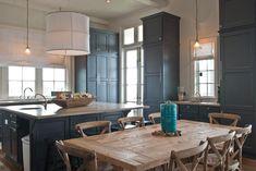 grey beach house kitchen + dining area