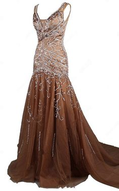 Brown Trumpet Mermaid V Neck Tulle Court Train Beading Long Prom Dress