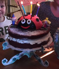 My attempt at a Ben and Holly theme birthday cake. My daughter loves Gaston and her face lit up when she saw her cake! It tasted lush and was sooo easy to make