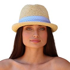 7e53bce617e8f6 Palms & Sand La Brea Women's Fedora Sun Hat with Plaid Band (Natural):  Amazon.co.uk: Clothing