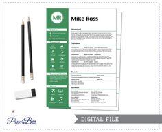 Modern CV Resume in green  Digital file by PaperBeeDesigns on Etsy, $30.00