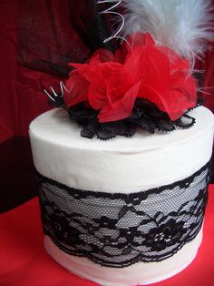 Sexy Black/Red Decorated Toilet Paper Roll Cake for Posh Lady. $12.00, via Etsy.