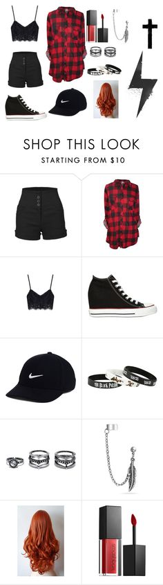 """Sara p.i"" by gingerbutginforshort ❤ liked on Polyvore featuring LE3NO, Converse, NIKE, LULUS, Bling Jewelry and Smashbox"