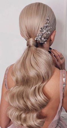 Wedding Ponytail Hairstyles, Bridal Ponytail, Low Ponytail Hairstyles, Ponytail Styles, Sleek Hairstyles, Bride Hairstyles, Bridal Hair, Low Ponytails, Slick Ponytail