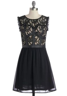 You can be the life of many a party in this lace black dress! Accented in luxe faux leather, this sleeveless A-line is a bit femme and a bit fatale, so you can rock it every which way! Wear its ruffled-trim and illusion neckline with pink pumps and gems, or top off this frock with a cobalt necklace and black moto booties.