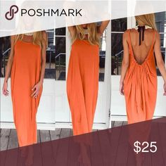 HOST PICK 🎉🎉NWT Orange Maxi backless  Dress. NWT Orange Maxi Summer Boho Dress. This is such a flattering dress and extremely comfortable too. It is one of my favorite dresses I bought all the colors and thought this is a great dress at a great price. NO TRADES, NO PAYPAL AND NO OFFERS. Please ask any questions and God Bless You💚💜💛❤️💙 Dresses Maxi