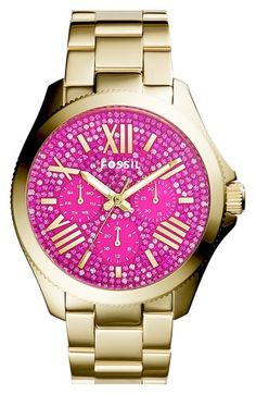 Fossil 'Cecile' Pavé Dial Multifunction Bracelet Watch, 40mm available at #Nordstrom