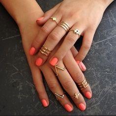 Bright orange nails