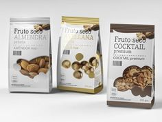 Packaging of the world: Fruto Seco Nuts Packaging Design Chip Packaging, Branding And Packaging, Packaging Snack, Biscuits Packaging, Pouch Packaging, Food Packaging Design, Packaging Design Inspiration, Best Dried Fruit, Fruit Pouches