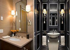 Iluminação a partir de luminárias de parede em banheiro com arandelas vintage