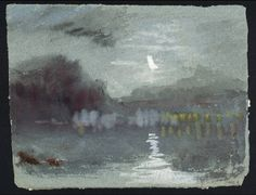 Joseph Mallord William Turner Moonlight on River, 1826 Hanging Pictures, Art Pictures, Watercolor Landscape, Watercolor Paintings, Watercolours, List Of Paintings, Oil Paintings, Turner Watercolors, Joseph Mallord William Turner