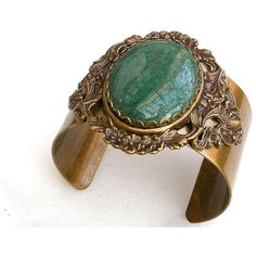 Green Aventurine Gemstone Brass Cuff - Vintage Inspired Bracelet -... ($80) ❤ liked on Polyvore
