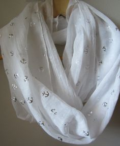 White Anchor Infinity Scarf by LuckyYouBoutiqueEtsy on Etsy, $14.00