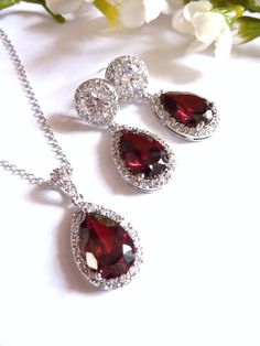 Bridal Necklace  High Quality Large Dark Garnet by JCBridalJewelry, $36.00