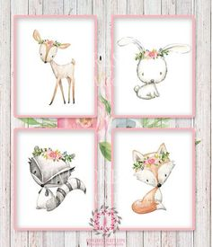 4 Deer Fox Bunny Rabbit Racoon Woodland Boho Bohemian Floral Nursery Baby Girl Room Set Lot Prints Printable Print Wall Art Home Decor