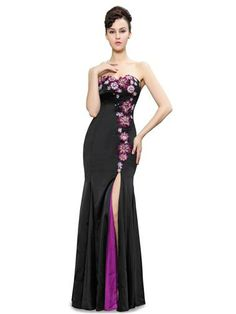 Elegant Strapless Flowers Sequins Slitted Trailing Evening Dress -  Ever-Pretty US Party Gowns 644805f206a1
