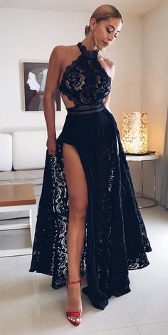 A-Line Halter Floor Length Black Open Back Lace Homecoming Prom Dress with  Split c649c8e7428c