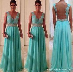 2014 caliente venta de moda color turquesa sexy v cuello espalda de encaje transparente con cuentas a largo