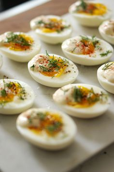 deconstructed deviled eggs w/ shallot mayo (mayonnaise, dijon, white vinegar & shallot), fresh dill, paprika & black pepper