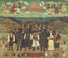 Greek folk artist Themis Tsironis  Sant people 1982 oil on wood