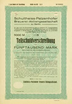 HWPH AG - Historische Wertpapiere - Schultheiss-Patzenhofer Brauerei-AG Berlin, März 1922, Muster einer 5 % Teilschuldverschreibung über 5.000 Mark, Lit. B, o. Nr., 35