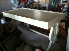 Antique vintage Harp coffee table refinished in an heirloom white...