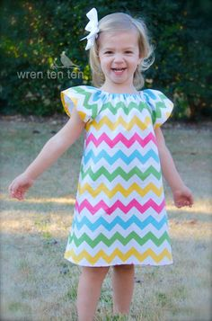 RILEY BLAKE multi/girl CHEVRON flutter sleeve dress - perfect for easter- baby girl toddler sizes 6-12mo,12mo,18mo,2,3,4,5,6. $32.00, via Etsy. #wrententen