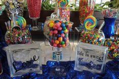 Candy Bar azul y multicolor